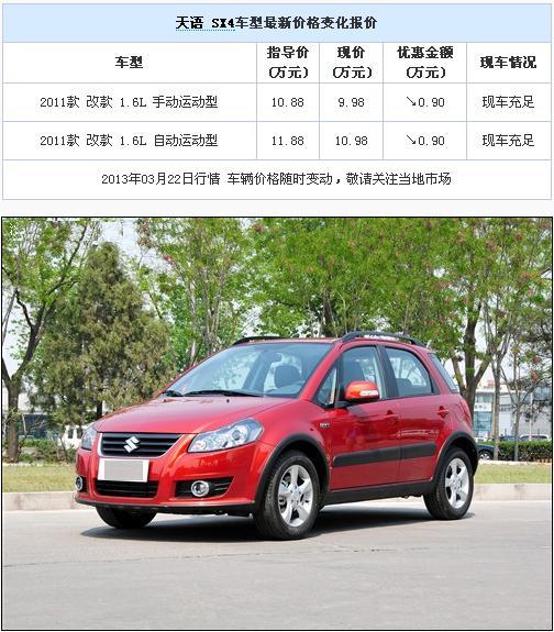 铃木天语SX4最高优惠9000元 部分车型有现车